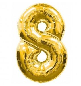 Globo número 8 dorado gigante