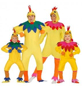 grupo de aves de corral multicolor