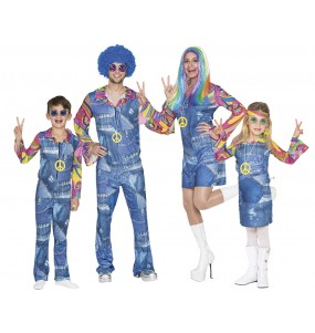 grupo disfraces hippies vaqueros