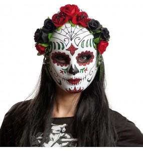 Máscara Día de los muertos con flores