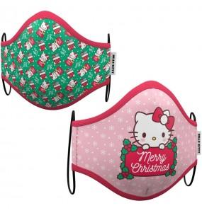 Mascarilla infantil de Hello Kitty Navidad
