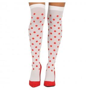 Medias Blancas con topos rojos mujer