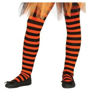 Pantys Naranja con rayas para niñas