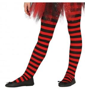 Pantys Rojos con rayas para niñas