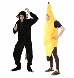 Pareja Chimpancé y Plátano