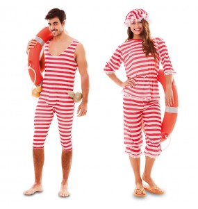 Pareja Disfraces Bañistas Rojos para adulto