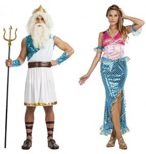 Pareja Dios Neptuno y Sirena Ariel