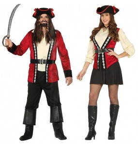 Pareja Piratas Calavera Rojos