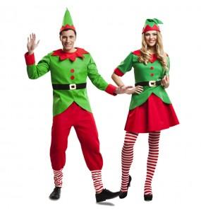 Pareja Elfos Navidad Santa Claus