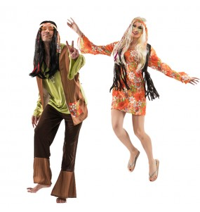 Pareja Hippies Ochenteros