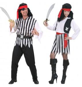 Pareja Piratas Rayas adulto
