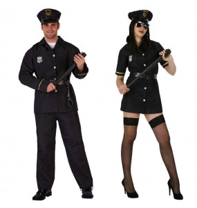 Pareja Policías Negros adulto