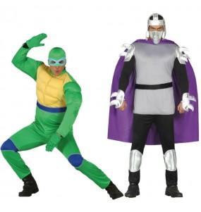 Pareja Tortuga Ninja y Shredder