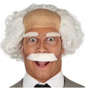 Peluca Albert Einstein con calva y bigote