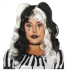 Peluca Arlequina Blanca y Negra