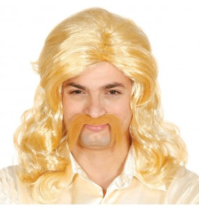 Peluca Discotequero Rubia con bigote