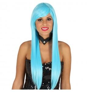Peluca Melena Lisa Azul