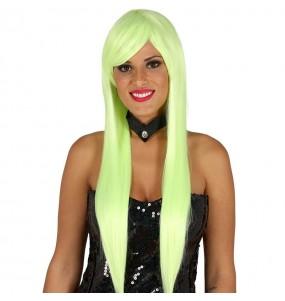 Peluca Melena Lisa verde