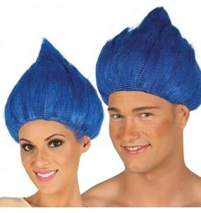 Peluca Troll Azul