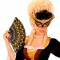 Máscara Negra con Ribete y Plumas veneciana