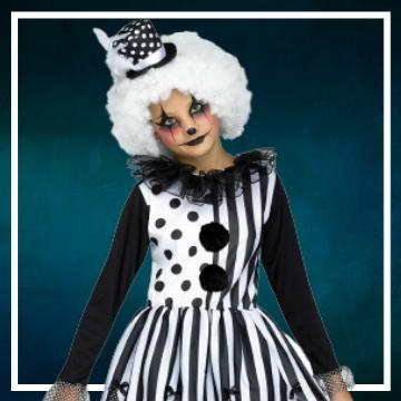 Compra online los disfraces Halloween de payasas diabólicas infantiles