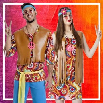 Tienda online de disfraces en pareja de hippies