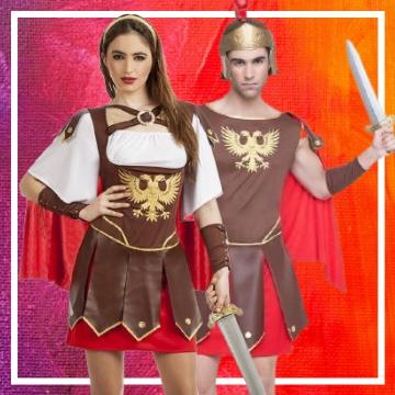 Tienda online de disfraces en pareja de romanos